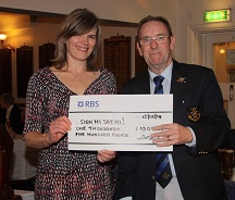 Jane Russell receiving a cheque for £1500 from the Captain of Blackpool Park Golf Club Mr Brian Williams